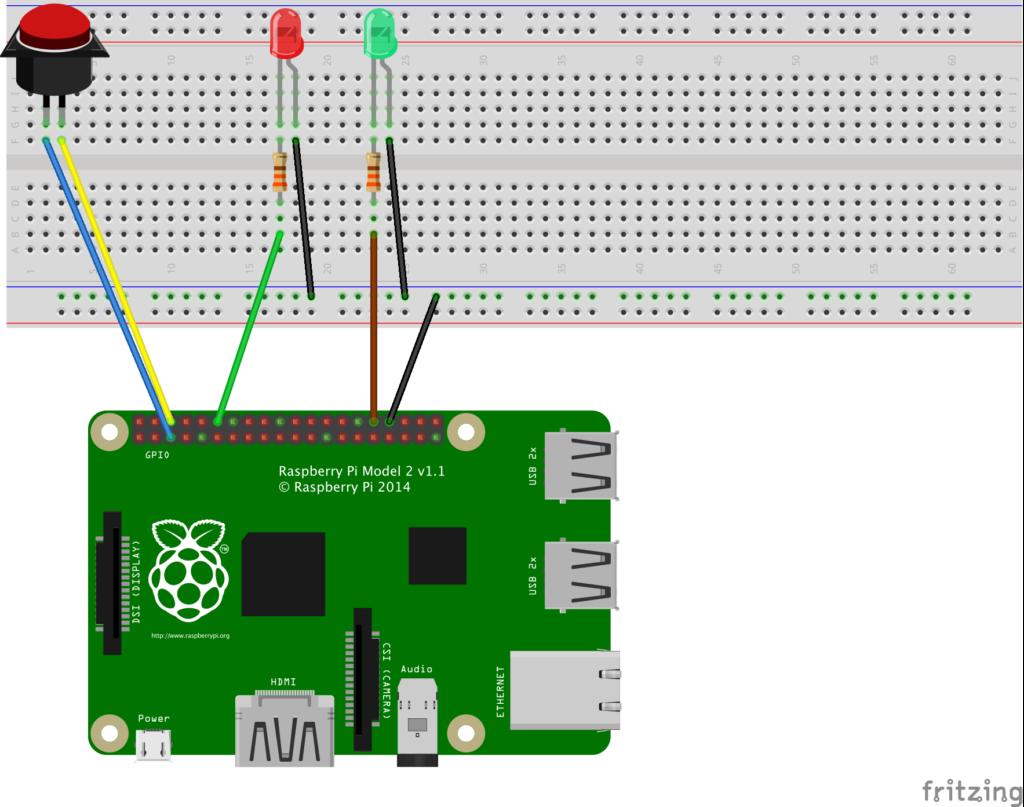schéma des branchements des LEDs et boutons sur le Raspberry
